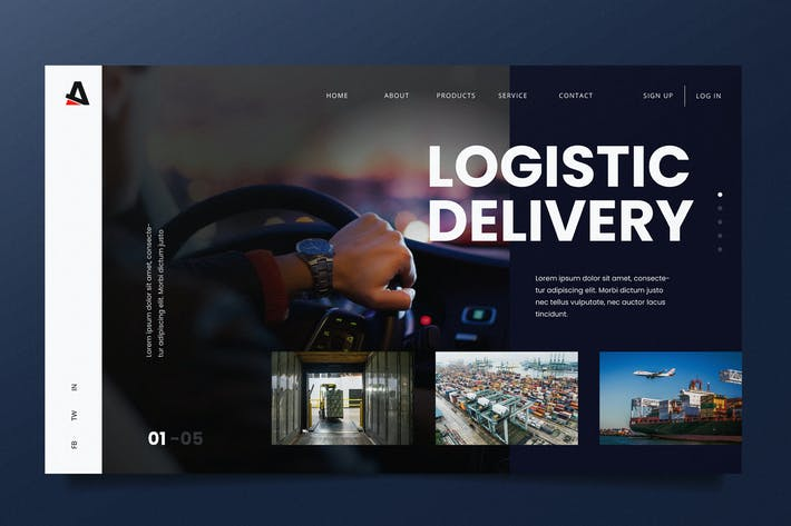 Thumbnail for Logistic Delivery Web Header PSD and AI Template