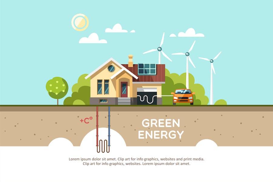 Grüne Energie ein umweltfreundliches traditionelles Haus.