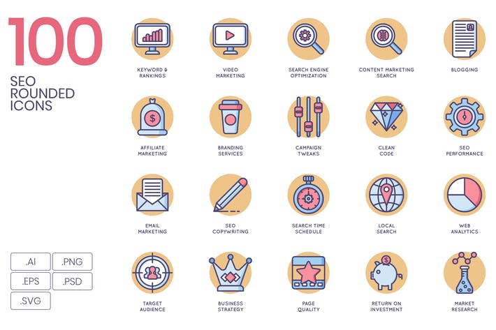 100 Marketing & SEO Icons | Butterscotch Serie