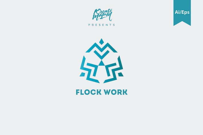 Cover Image For Flock Work Logo Template