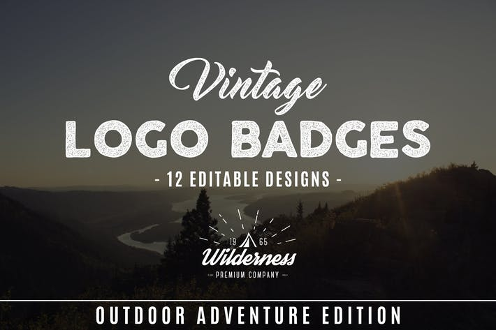 Thumbnail for Outdoor Vintage Badges & Retro Logos Set