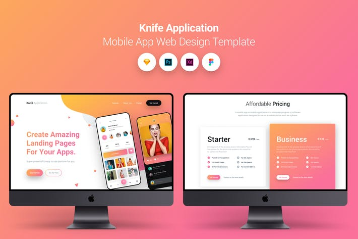 Thumbnail for Knife Application Mobile App Landing Page Temlate