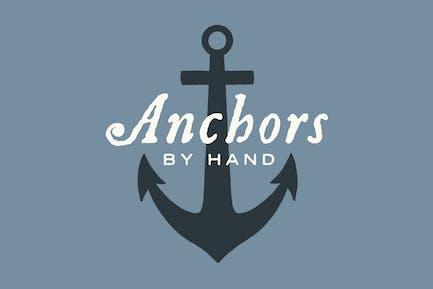 Nautische Anker und Seil von Hand