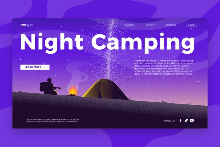Thumbnail for Night camping - Banner & Landing Page