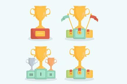 Trophy Champion Reward Cartoon Collection
