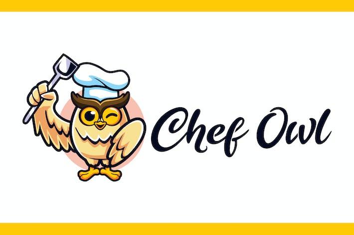 Thumbnail for Cartoon Chef Owl Mascot Logo