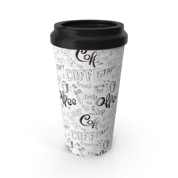 Paper Cup White Black Patterned