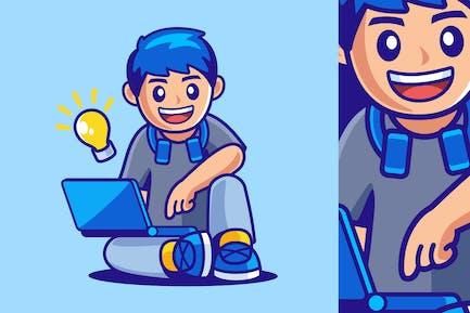 Teenage Boy Sitting with Laptop
