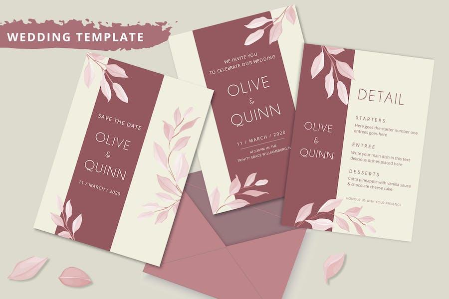 Elegant minimalist floral wedding invitation