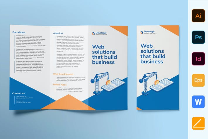 Thumbnail for Web And Mobile App Development Brochure Trifold