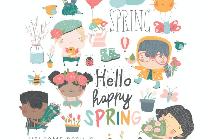 Thumbnail for Cartoon kids and spring elements. Vector collectio
