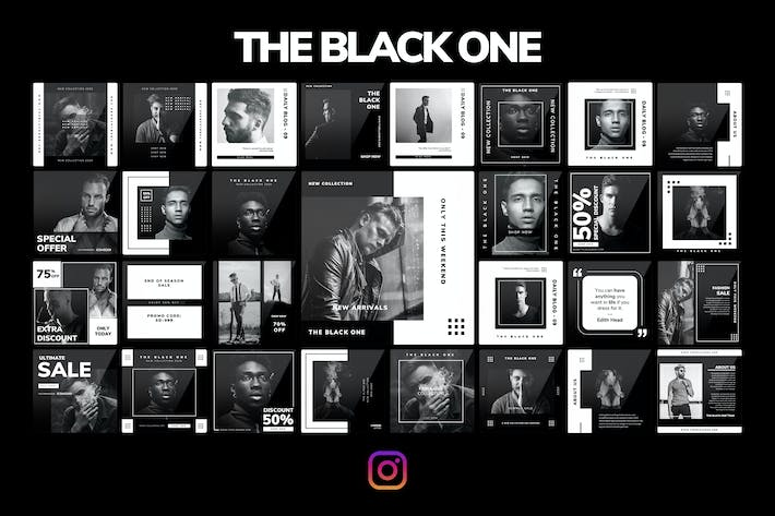 Thumbnail for THE BLACK ONE - Instagram PowerPoint Template