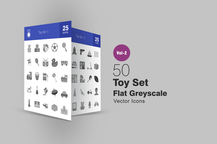 Thumbnail for 50 Toy Set Greyscale Icons