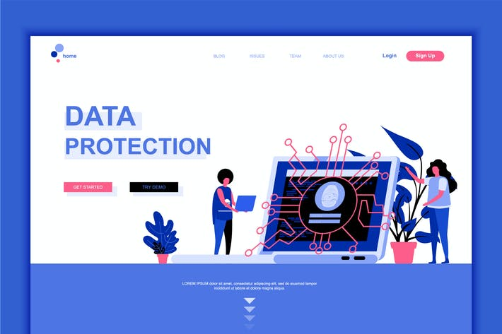 Thumbnail for Data Protection Flat Landing Page Template