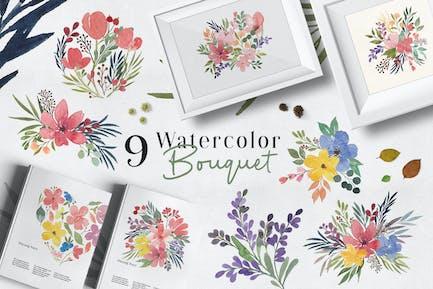 Ofi 9 Aquarell Blumenstrauß Grafik