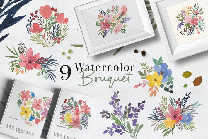 Thumbnail for Ofi 9 Watercolor Bouquet Graphic