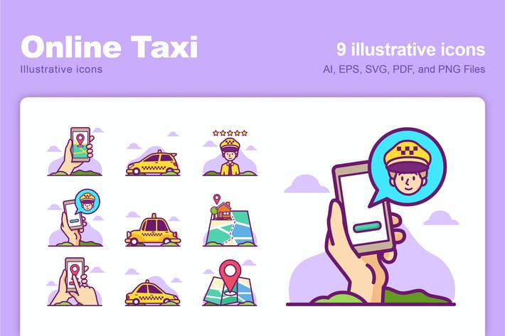 Online Taxi Illustrative Icons