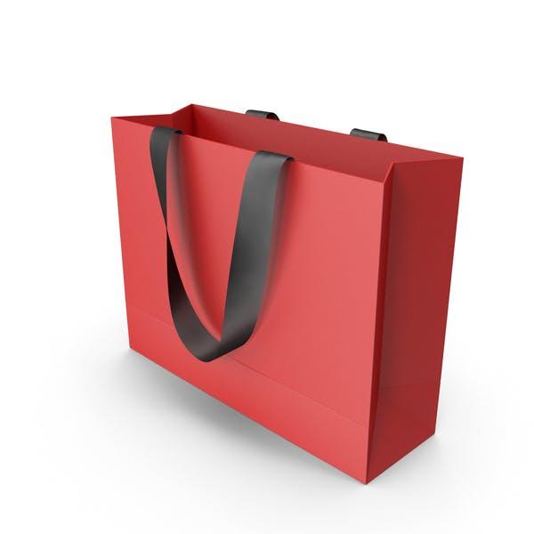 Красная упаковочная сумка с черными ручками