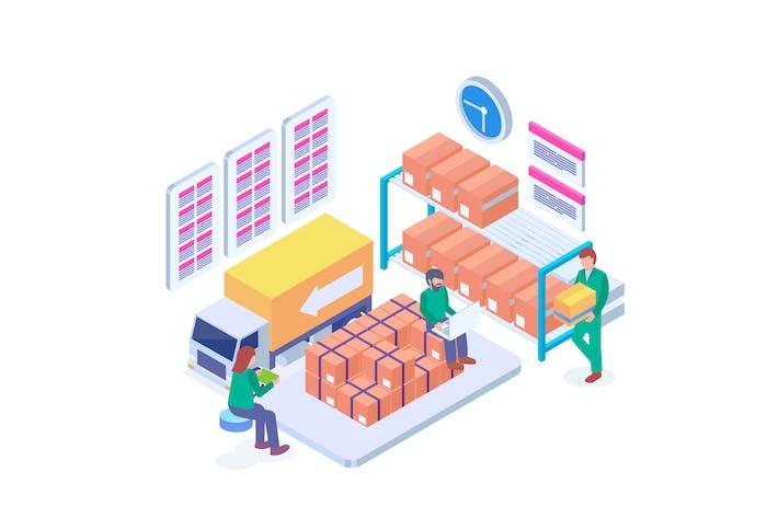 Warehouse Goods Management Isometric Vector 1