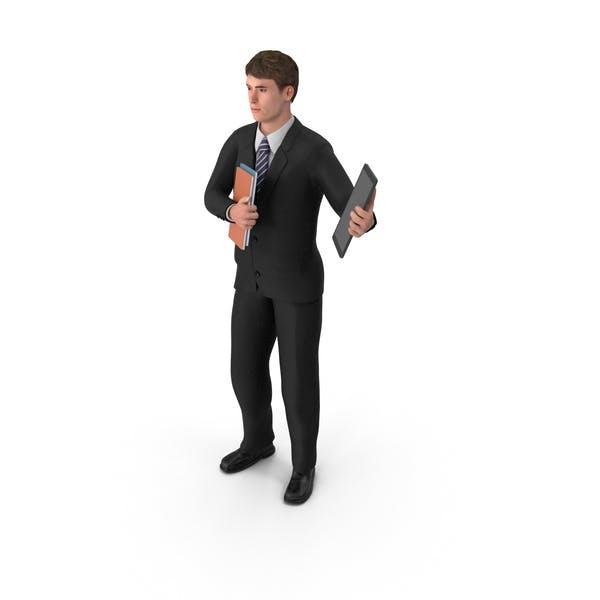 Бизнесмен Джон Холдинг книги и планшет