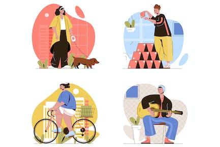 Hobby Flat Line Illustrations Set