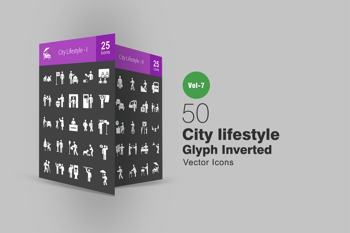 Thumbnail for 50 City Lifestyle Glyph Inverted Icons