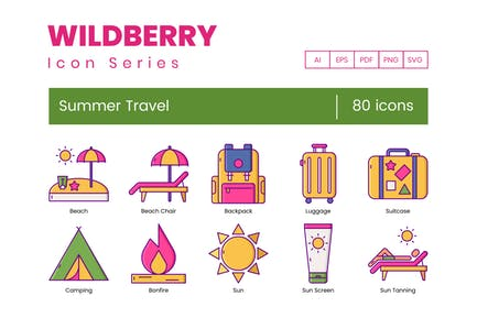 80 Summer Travel Icons - Wildberry