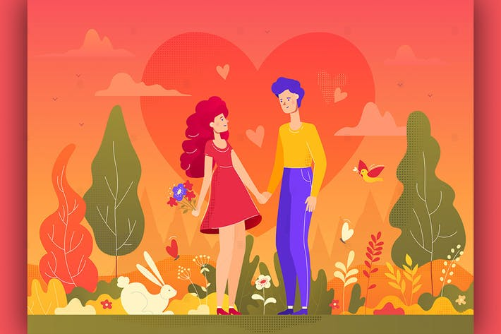 Thumbnail for Romantic couple - flat design style illustration