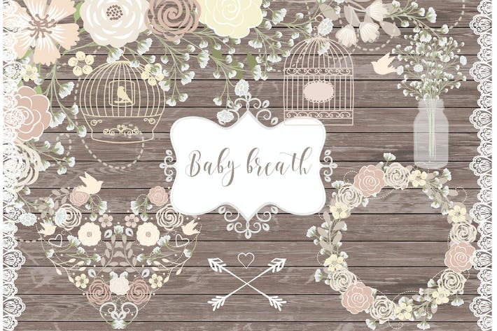 Thumbnail for Vector Rustic baby's breath wedding clipart