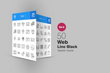 50 Íconos de línea web