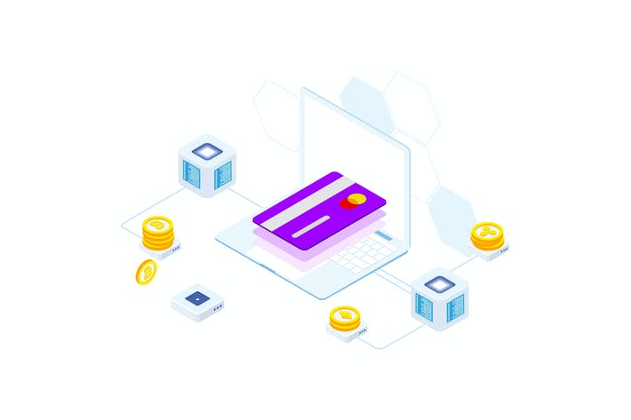 Thumbnail for Transfers Money on Blockchain Isometric 4 - FV