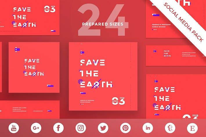 Thumbnail for Save Earth Seminar Social Media Pack Template