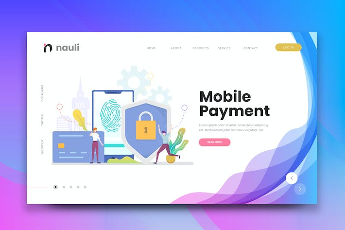 Thumbnail for Mobile Payment Web PSD and AI Vector Template