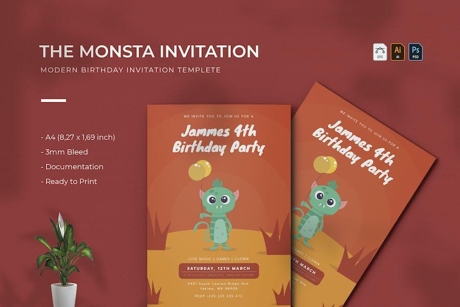 Monsta | Birthday Invitation