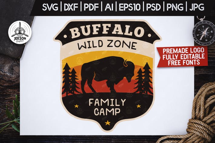 Thumbnail for Wild Animals Badge / Vintage Camp Logo Patch SVG