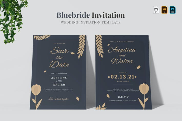 Thumbnail for Bluebride | Wedding Invitation