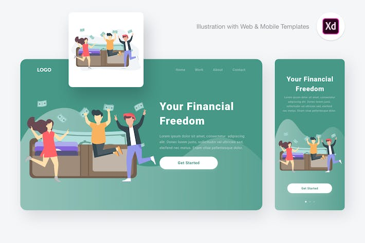 Thumbnail for Financial freedom illustration (Adobe XD & SVG)