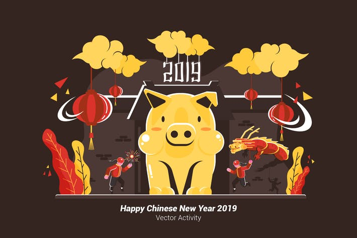 Happy Chinese New Year 2019 - Vector Illustration