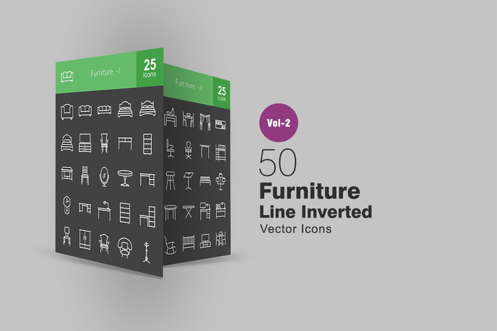 Thumbnail for 50 Furniture Line Inverted Icons