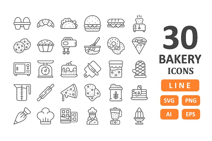 Thumbnail for 30 Bakery Icons - Line