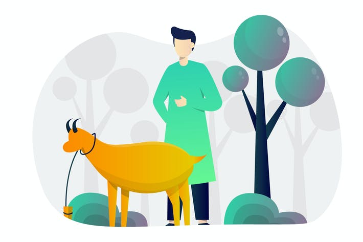 Cover Image For Eid Qurban Flat Illustration