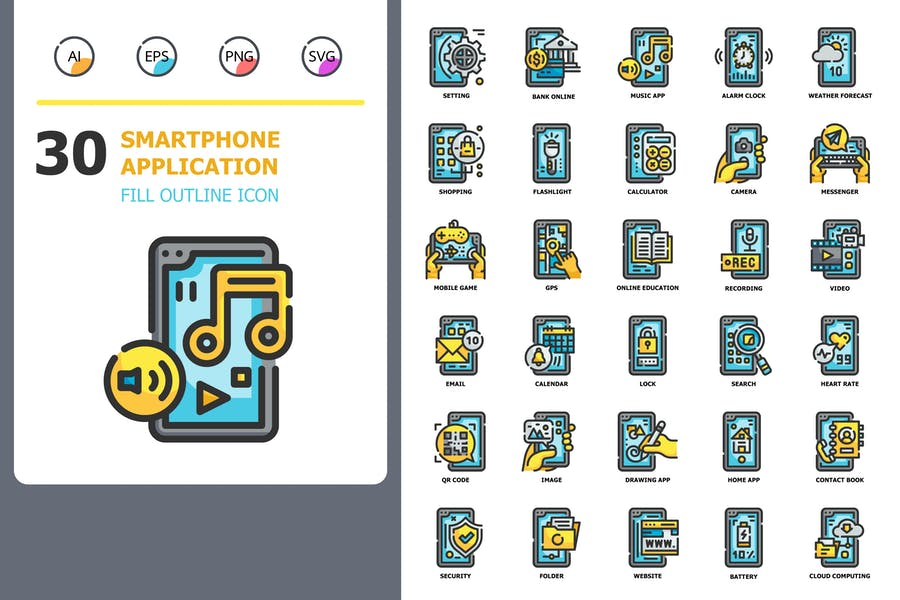Smartphone Application Fill Outline Icons