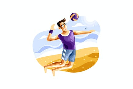 Playing beach volleyball