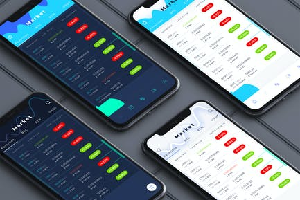 Crypto Market 4 Style in 1 Mobile Ui