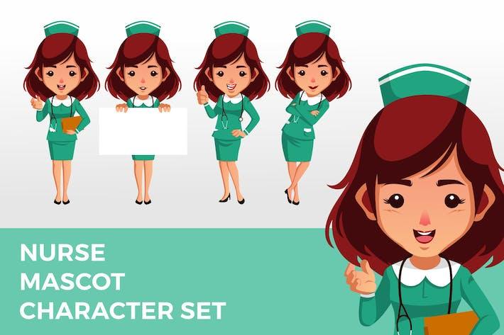 Krankenschwester Maskottchen Zeichenset