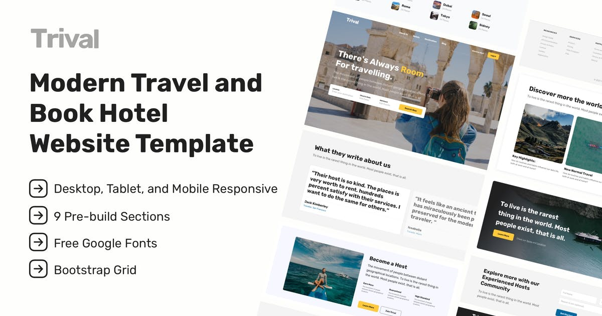 Download Trival - Travel and Book Hotel Website Tempalte by RekreativID