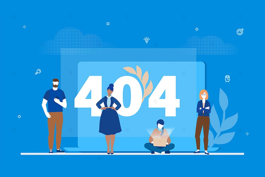 Error 404 page - flat design style illustration