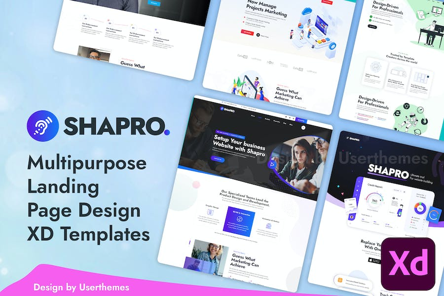 Shapro - Multipurpose Landing Page XD Template