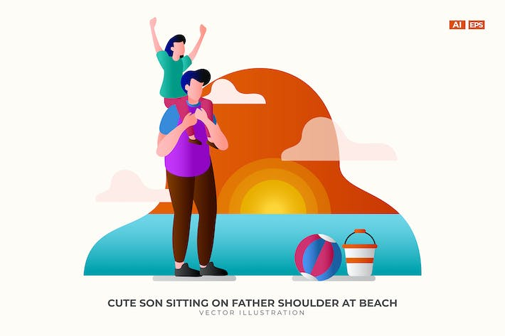 Thumbnail for Cute Son Sitting on Father Shoulder at Beach