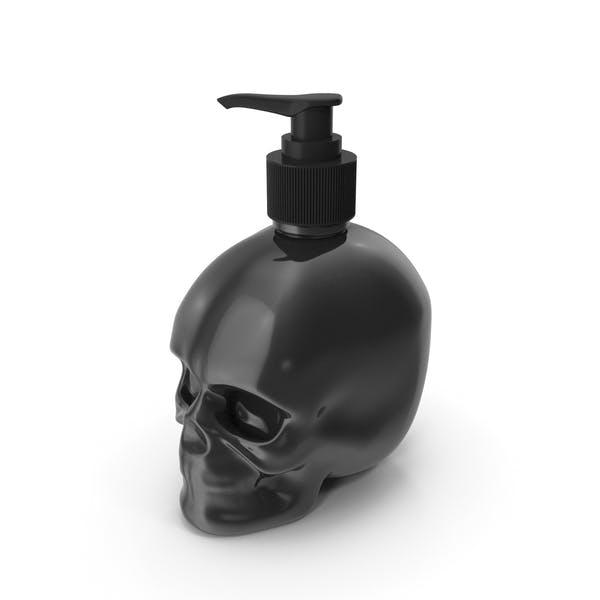 Black Glass Skull Bottle with Black Pump